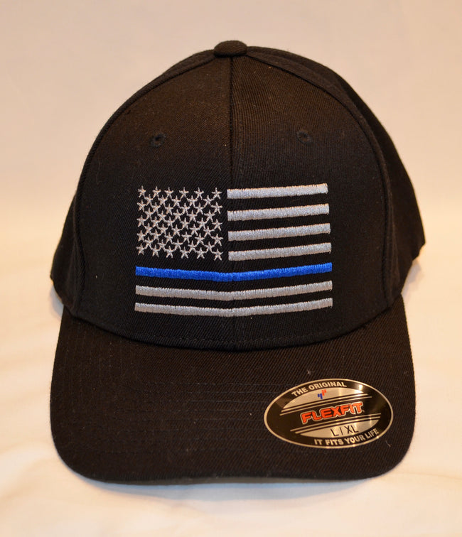 THIN BLUE LINE FLAG Flexfit Adult Hat