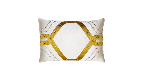 Ivory Deco Lumbar Throw Pillow Cover