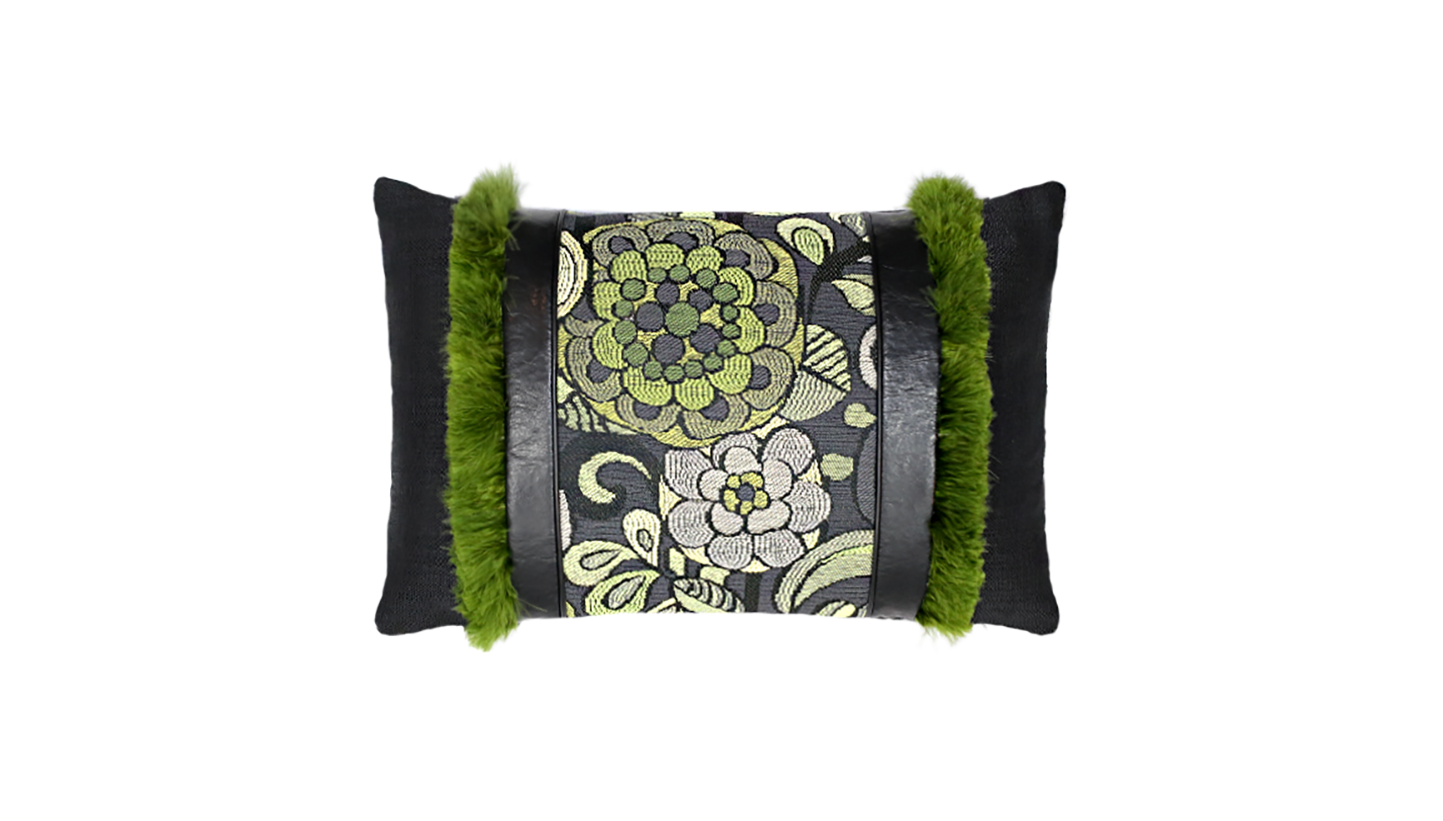 Noir Mums Feathered Throw Lumbar Pillow Cover