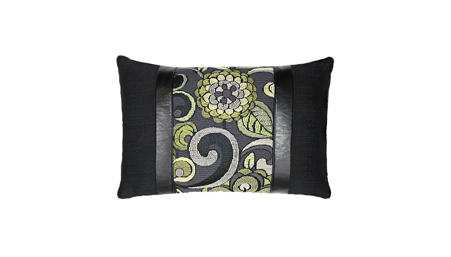 Noir Mums - Wave Throw Lumbar Pillow Cover