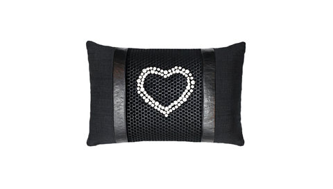 Noir No.5 Heart Studded Throw Lumbar Pillow Cover