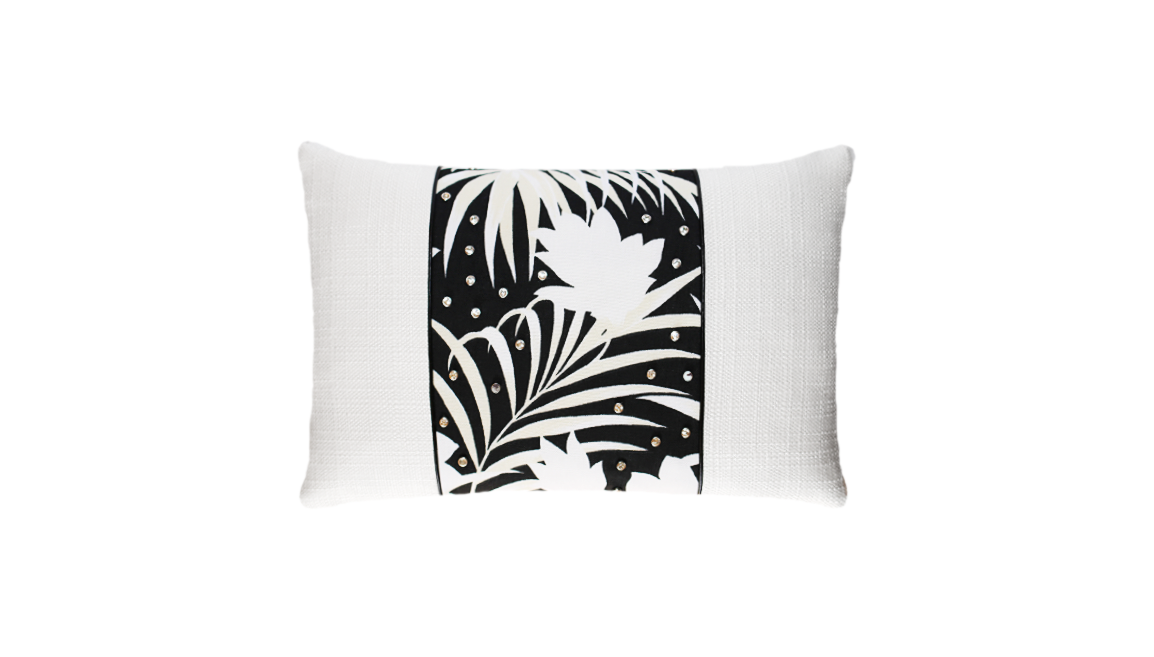 Winter Palm Studded Throw Lumbar Pillow Cover
