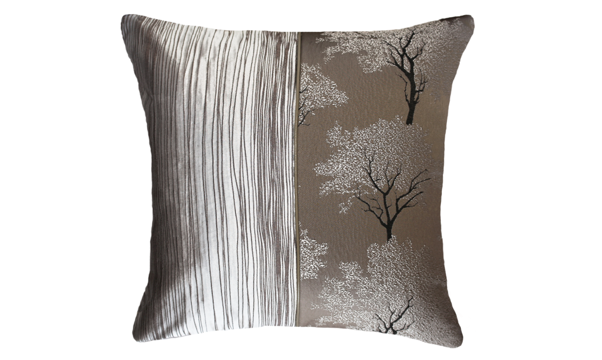 Light Ebony Tree Bark Half Throw Pillow Cover