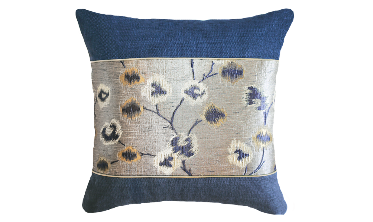 Metallic Blossoms Panel Throw Pillow Cover