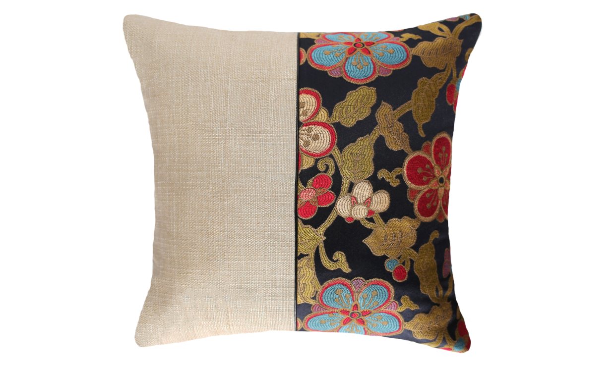 Flowers Half Throw Pillow Cover