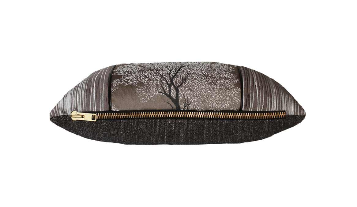 Dark Ebony Tree Bark Throw Pillow Cover
