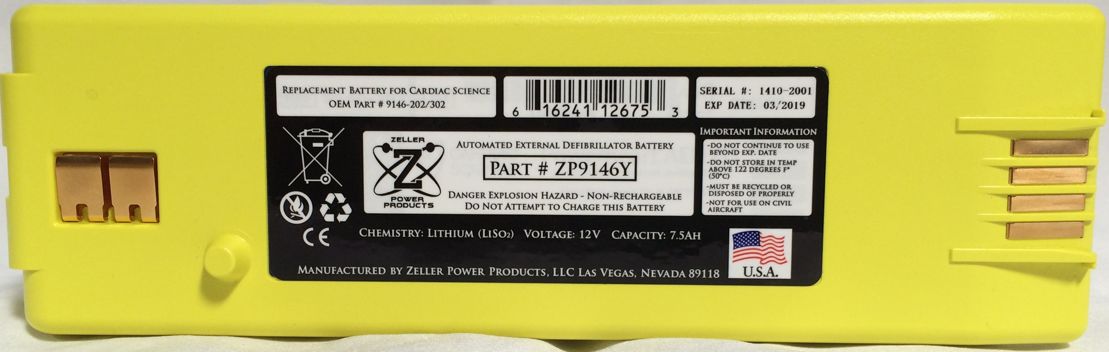 Replacement Battery for Cardiac Science (AED G3) Zeller Power ZP9146Y