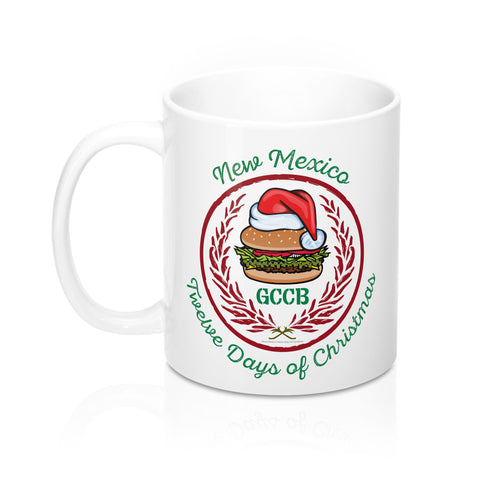A Santa Hat GCCB with Chile Wreath - New Mexico Twelve Days of Christmas (11oz Mug)