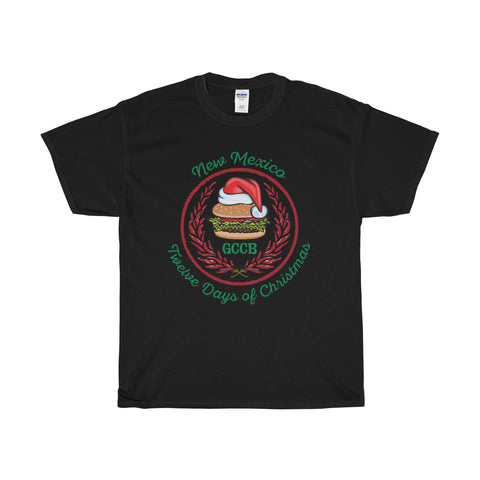 A Santa Hat GCCB with Chile Wreath - New Mexico Twelve Days of Christmas (Adult Tee)