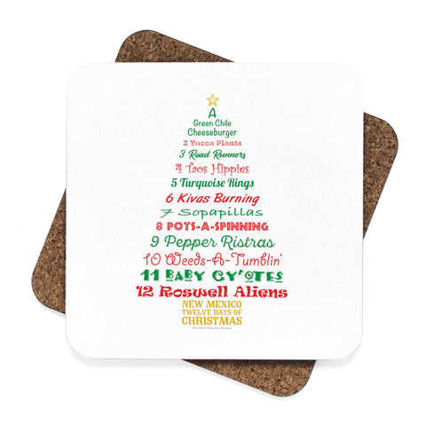 A Tree List of Days - New Mexico Twelve Days of Christmas (Square Coaster Set - 4pcs)