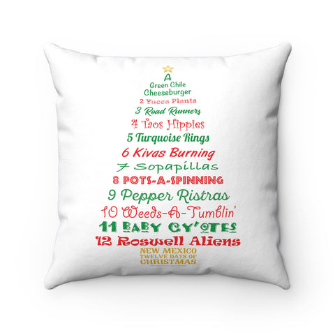 A Tree List of Days - New Mexico Twelve Days of Christmas (Pillow)