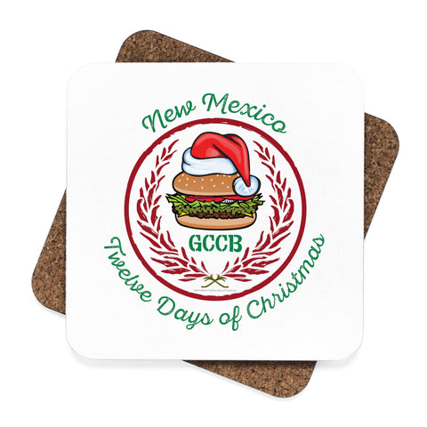 A Santa Hat GCCB with Chile Wreath - New Mexico Twelve Days of Christmas (Square Coaster Set - 4pcs)