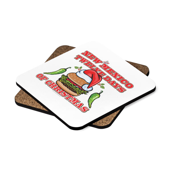 NM 12 Days of Christmas with Santa Hat GBBC and Chiles (Square Coaster Set - 4pcs)