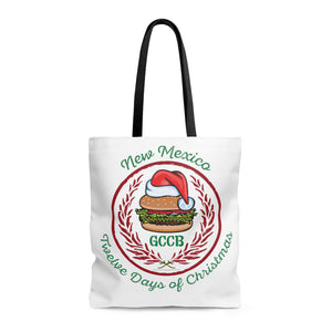 A Santa Hat GCCB with Chile Wreath - New Mexico Twelve Days of Christmas (Tote Bag)