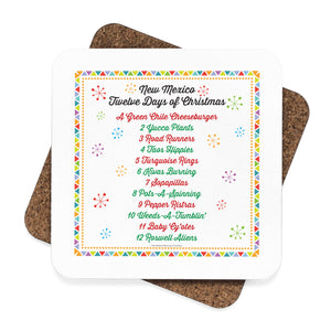 List of Days with Festive Border - New Mexico Twelve Days of Christmas (Square Coaster Set - 4pcs)
