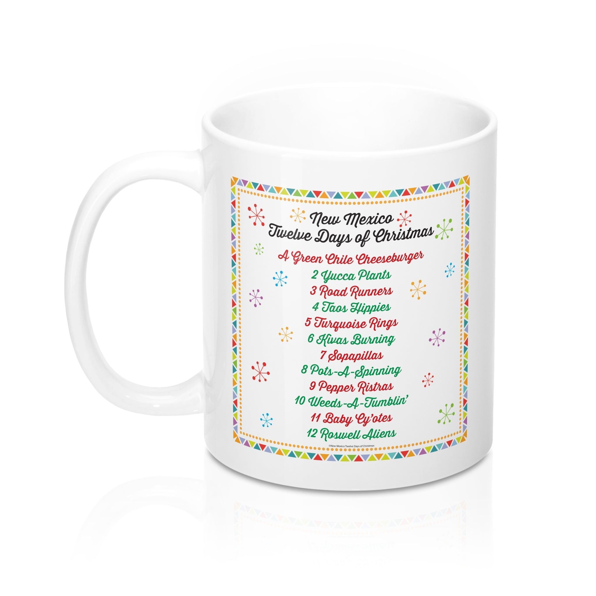 List of Days with Festive Border - New Mexico Twelve Days of Christmas (11oz Mug)