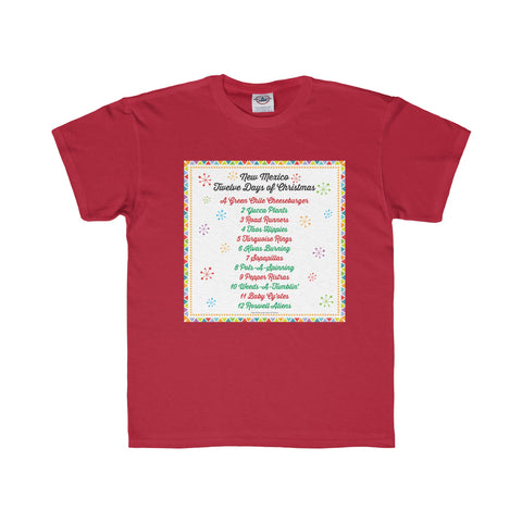 List of Days with Festive Border - New Mexico Twelve Days of Christmas (Youth Tee)