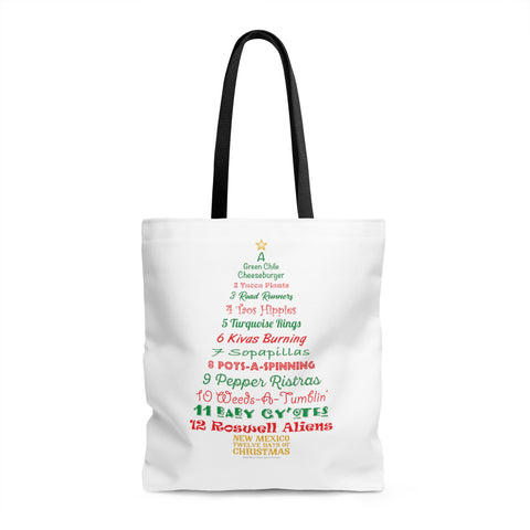 A Tree List of Days - New Mexico Twelve Days of Christmas (Tote Bag)