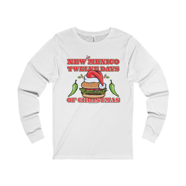 NM 12 Days of Christmas with Santa Hat GBBC and Chiles (Adult Long Sleeve Tee)