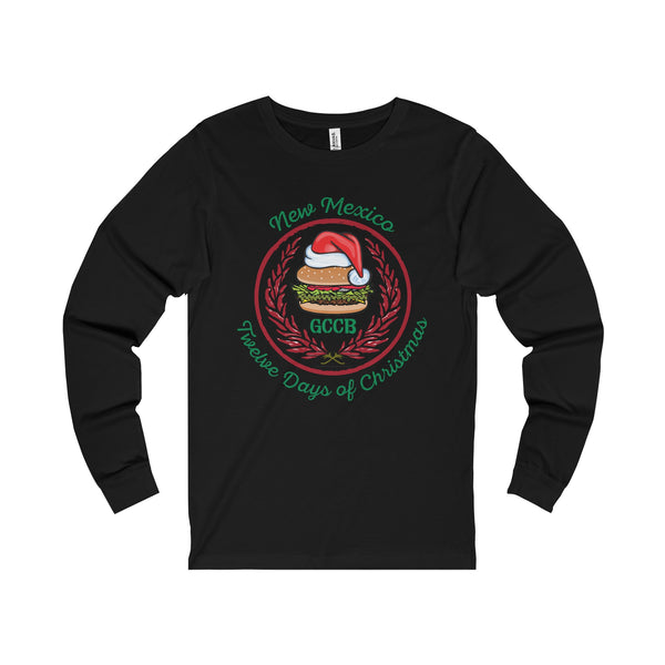 A Santa Hat GCCB with Chile Wreath - New Mexico Twelve Days of Christmas (Adult Long Sleeve Tee)