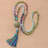 108 Beads Unique Handmade Jasper Agate and Amazonite Necklace With Nepal Charm And Long Tassel