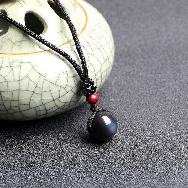 Black Obsidian Rainbow Eye Beads Necklace