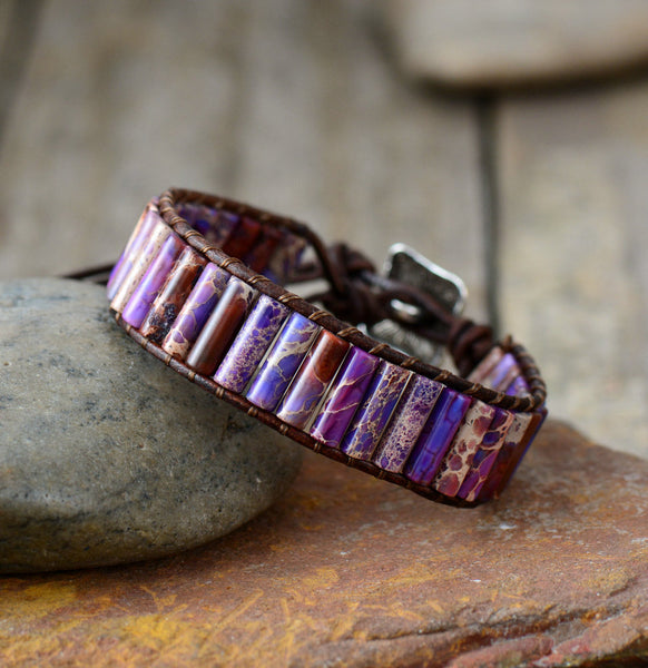 Unique Handmade Tube Shaped Jasper Single Leather Wrap Bracelet