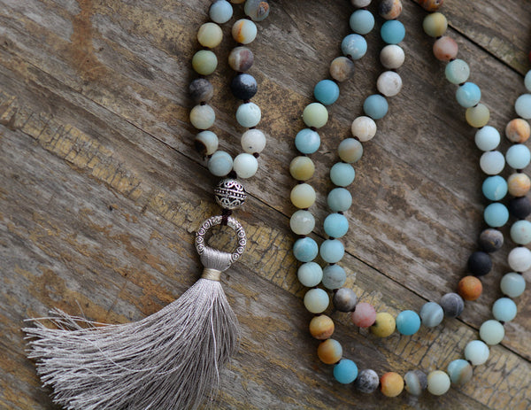 Unique Handmade Crafted  Matte Amazonite And Jasper Necklace With Tassel