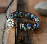 Handmade Tube Shaped Jasper And Agate Stone Leather Bracelet