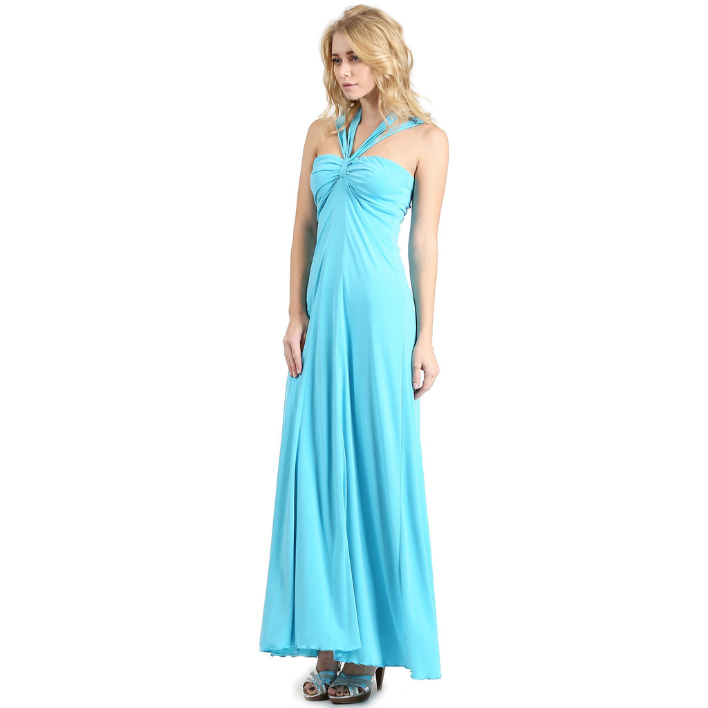 Cross Tie Halter Long Evening Dress