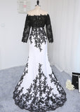 Black & White Lace Detail Long Mermaid Evening Dress