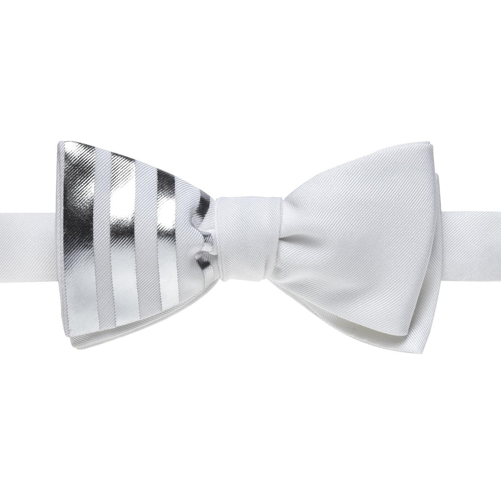 White Bow Tie With Silver Stripes