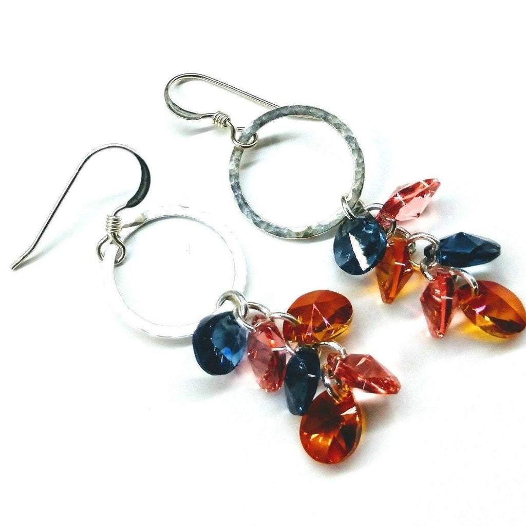 Sterling Silver & Multi Color Swarovski Crystal Drop Earrings