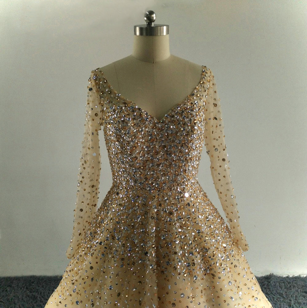 Ball Gown with Beaded Sequined Bodice