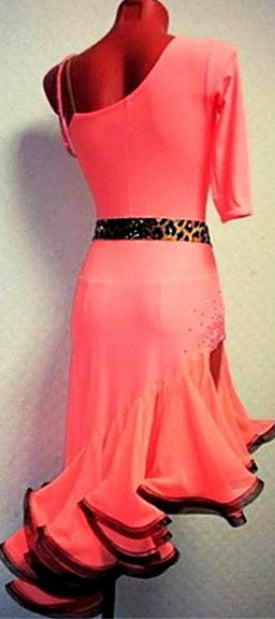 Coral Pink One Sleeve Rhythm or Latin Ballroom Dance Dress