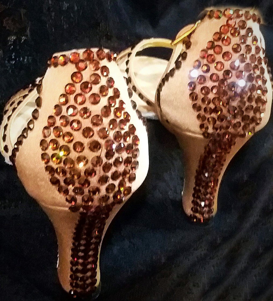 Style #18 Custom Rhinestoned Dance Shoes- Size 6