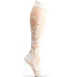 Floral Damask Sheer Knee High Sock