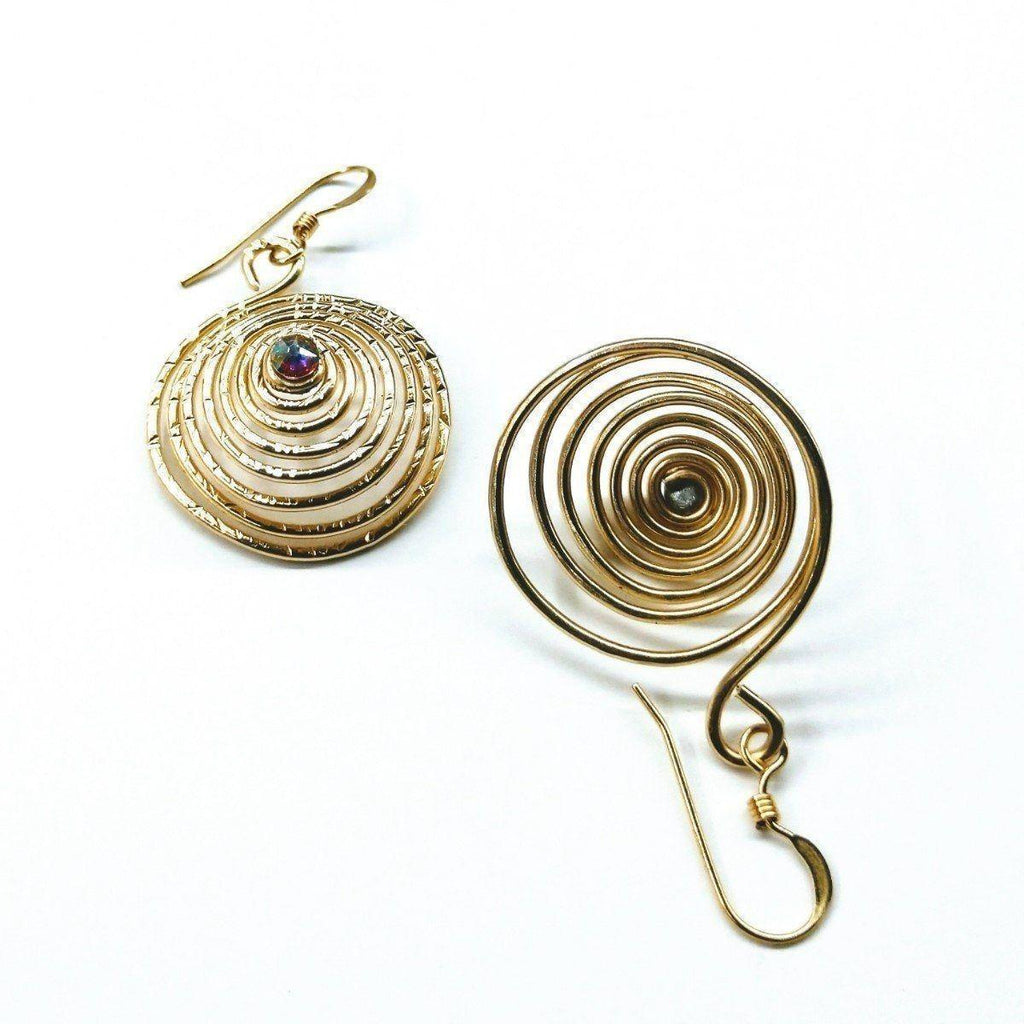 Gold Filled Swarovski Crystal Spiral Earrings