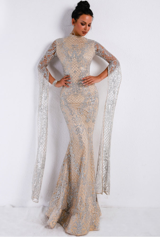 Drape Sleeve High Neck Evening Gown