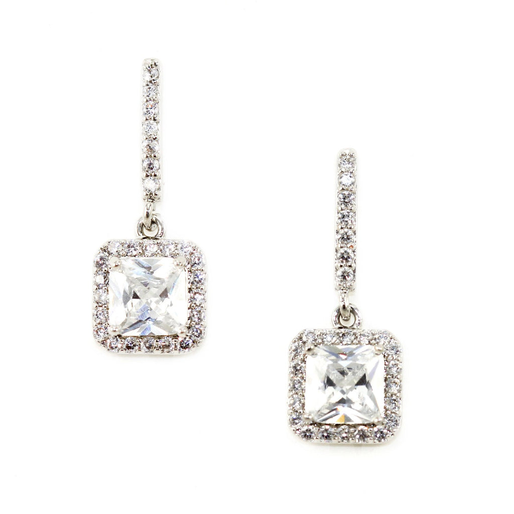 Pave' Crystal Drop Earrings