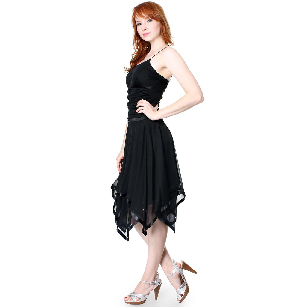 Romantic Polyester Sheer A Line Cocktail Dress with Satin Trim