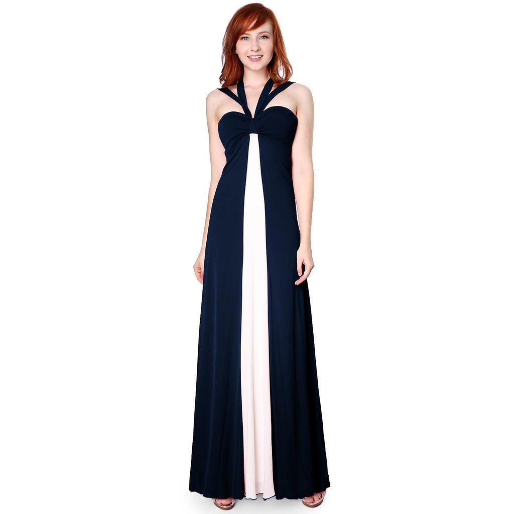 Contrast Cross Tie Halter Long Event Dress
