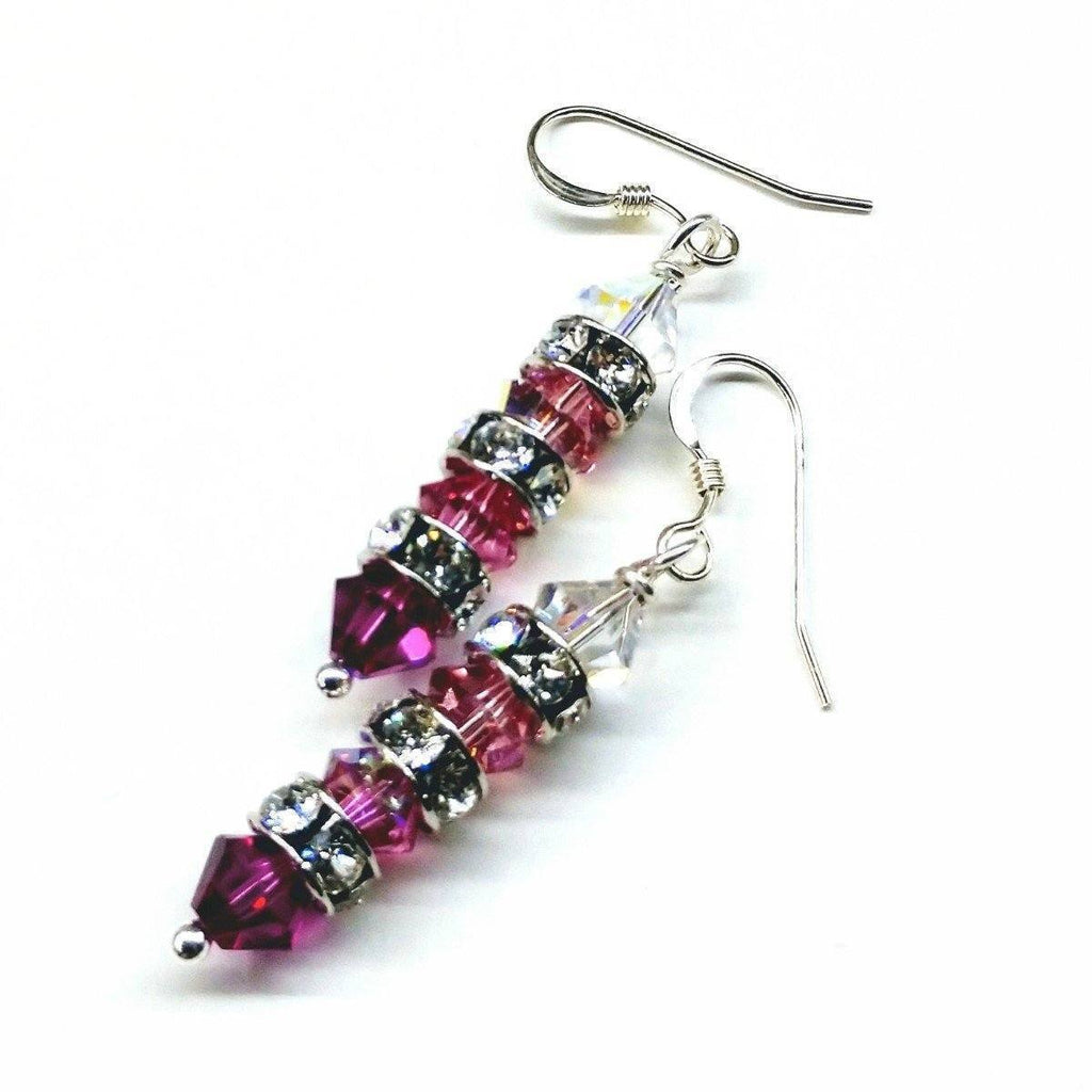 Hot Pink Ombre Stacked Swarovski Crystal Sterling Silver Earrings