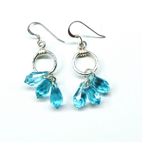Sterling Silver &  Aqua Swarovski Crystal Drop Earrings