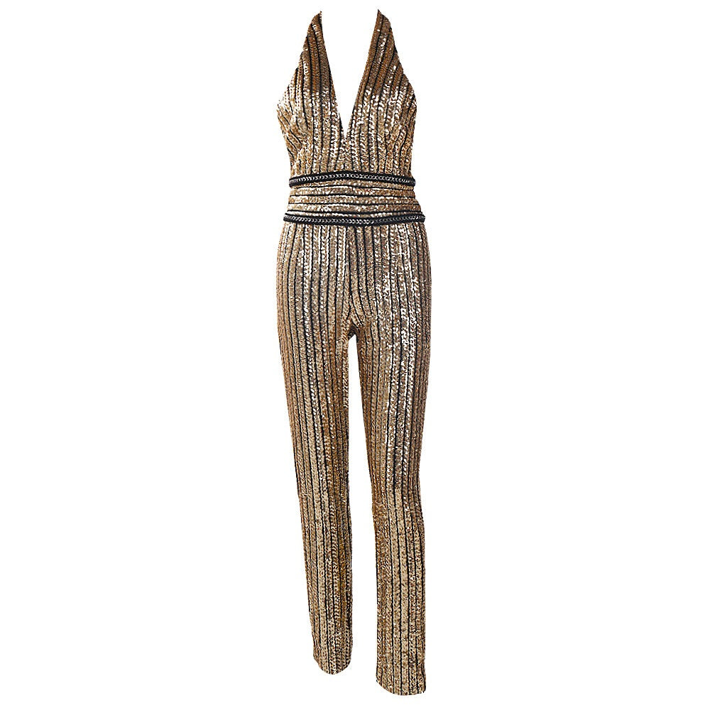 Halter Neck Gold Sequin Striped Jumpsuit
