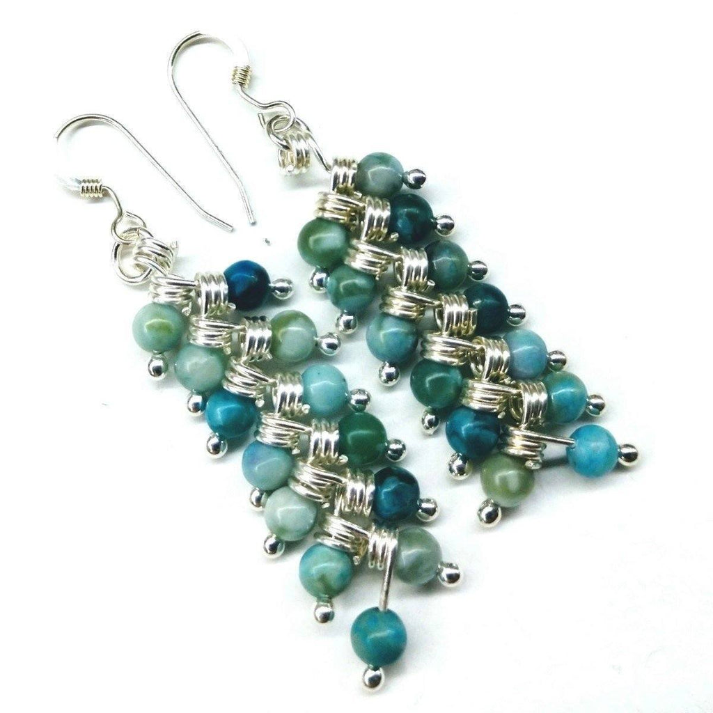 Sterling Silver & Turquoise Wire Wrapped Drop Earrings