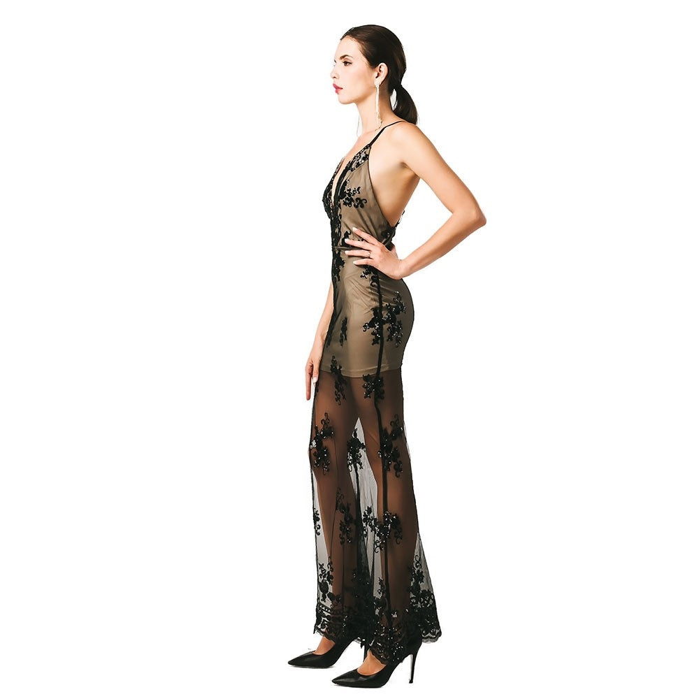 Black Semi Sheer Evening Gown