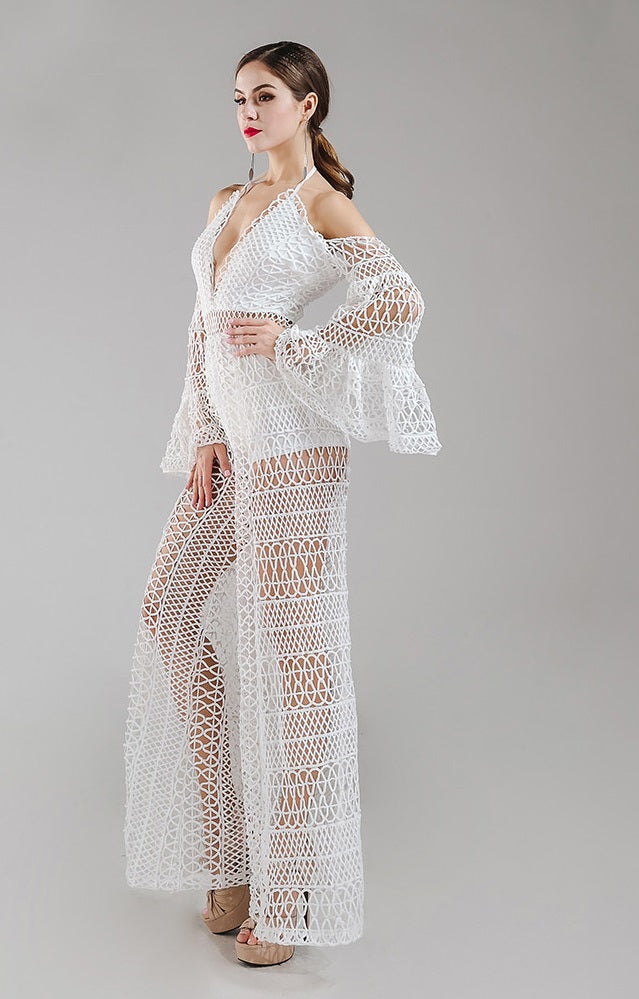 White Cold Shoulder Lace Crochet Jumpsuit