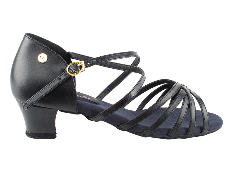 Competitive Dancer Series- Black Leather Low Heeled Sandal