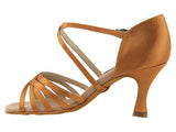 Competitive Dancer Series- Dark Tan Satin Dance Sandal